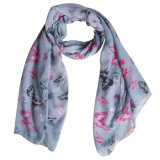 Lady Fashion Polyester Voile Scarf with Butterfly Print (YKY4204)