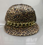 Six Panel Leopard Print Snapback Cap with Chain