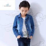 Fashion New Style Boys′ Long Sleeve Denim Shirt with Personality Embroidered by Fly Jeans
