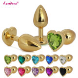 5PCS/Lot Hot Sell Golden Heart Shaped Stainless Steel Crystal Jewelry Anal Butt Plug Sex Toys Medium Size 35mm X 80mm GS0314