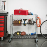 Movable 3 Tiers Adjustable 550lbs Heavy Duty Chrome Wire Steel Garage Tools Storage Rack Trolley