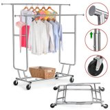 Stainless Steel Chrome Finish Garment Rolling Collapsible Rack Rail Double Rail Jp-Gc406