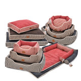 Fashion Stripes Cotton Quilted Beds Square Flocked Cushion