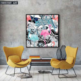 Pop Art Wildlife Flamingo Leopard Picture Butterfly Canvas Print