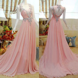Chiffon Pink Prom Party Gowns Jewelry Cocktail Evening Dresses Y2216