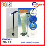 2017 New Product Saferlifer Red Aluminum Foldable Walking Cane with LED Light Walking Stick with Torch