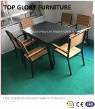 Garden Restaurant Cafe Aluminum Plastic Wood Chair Table Set (TG-6002)