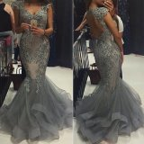 2017 Mermaid Evening Dress Silver Beaded Formal Gown E139121