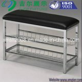 Two Tiers Metal Shoe Rack with Faux Leather Upholstery Ce (G-SR12)
