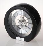 Mini Round Skeleton Clock in Black Laquer Finish