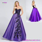 Strapless Mikado Full A-Line Gown Adorned with Asymmetrical Embroidered Applique Evening Dress with Side Pockets
