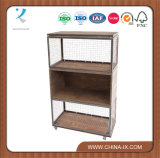 Triple Wood and Wire Display Case with Casters