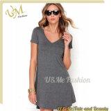 Grey Jersey Fabric V Neckline Short Sleeves T Shirt Knit Dress