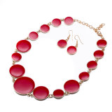 Western Hot Sale Simple Jewelry Sets Red Oil Drip Linked Necklace Earring
