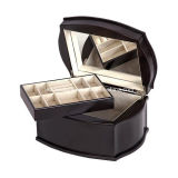 Wooden Jewelry Storage Case W/Drawer Glass Top Box and Display