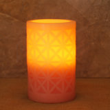 Pink Carved Window Design Straight Edge Battery Operated LED Wax Candle Light with Timer