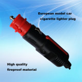 European Style 12V 24V Car Cigarette Lighter Adapter with DC Cable and LED Light