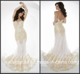 White Chiffon Party Gown Vestidos Gold Lace Evening Dress P16097