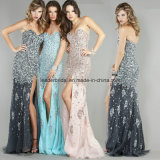 Rhinestone Crystal Evening Ladies Gowns Side Split Prom Party Dresses Z612