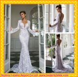 Open Back Bridal Gowns White Lace Long Sleeve Wedding Dress Rr3001