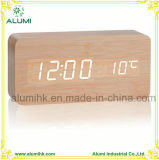 Table Wooden Alarm Clock for Hotel Temperature Display LED Clock