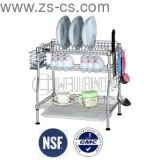 Patented Adjustable 2-Tiers Chrome Kitchen Dish Drainer Rack (CJ-C1231)