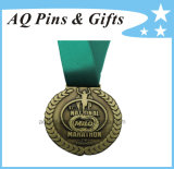 Custom National Marathon Medal with Green Ribbon