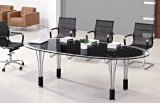 Glass Top Conference Meeting Office Table Metal Office Furniture (HX-GL052)