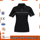 Factory High Quality Women High Collar Polo Tshirt of Cotton