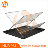 Foldable Chrome Finish Dish Rack with Drain Board