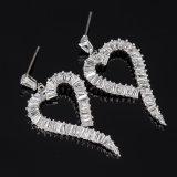 Fashion Silver Cubic Zirconia Crystal Heart Dangle Earrings Jewelry