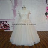Champagne Lace Floor Length A Line Wedding Dress
