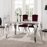 Hot Sale Marble Top Stainless Steel Frame Dining Room Furnituredining Table Set