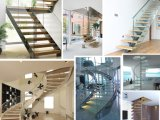 Steel Wood Indoor Stair Design with Glass Railing for Modern Staircase