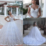 Arabic Bridal Ball Gown Lace Flowers Luxury Crystal Wedding Dress G1782