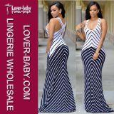 Stripes Maxi Dress Casual Fashion Wear for Lady (L51275)