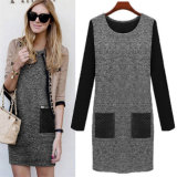 Winter Women Long Sleeve Plus Size Warm Wool Slim Pencil Dress