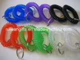 Customized Rainbow Colors Coiled Bracelet with Keyring