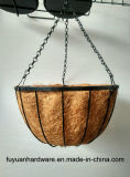 Powder Coated Steel Hanging Basket with Coconut Fabric for Flower