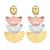 2017 New Design Gold Fan Shape Eardrop Earrings Fashion Jewelry
