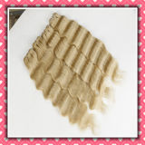 Blonde Color Wavy Human Hair Weaving Loose Deep 16inches