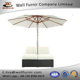 Well Furnir Espresso White Synthetic Rattan Outdoor Dual Chaise