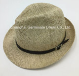 Paper Straw Hat with Crown PU Leather Band (Sh033)