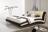 Popular Modern Bedroom Bed Elegant Design King Size Leather Bed (HC002)