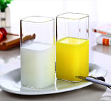 Heat Resistance Glass Square Milk Cup Drinking Glass