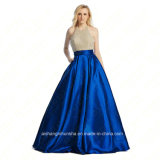 Women Crystal Satin Long Sexy Evening Party Prom Dress