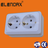 European Style Surface Mounted Double Socket Outlet with Earth (S1210)