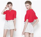 Hot Sale Red Chiffon Fabric Women′s Blouse for Summer