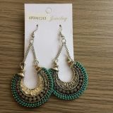 Retro Engraved Earrings Green Fabric Fashion Jewelry Summer