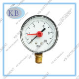 Black Steel Case Pressure Gauge with Red Adjustable Pointer